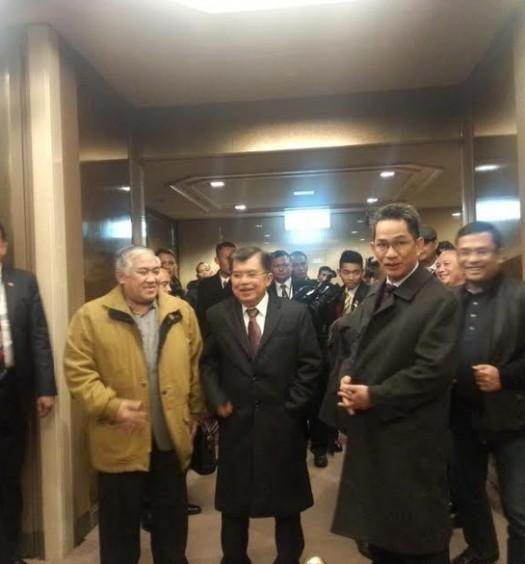 Sumber: www.detik.com / Prof. Din Syamsuddin bersama Wapres Jusuf Kalla dalam acara PBB di Sendai, Jepang