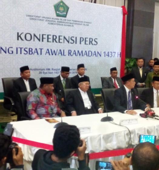 Konferensi Pers Sidang Itsbat Awal Ramadhan 1437 Hijriah di Kantor Kementerian Agama (Kemenag), Jakarta, pada Ahad (5/6).  Sumber: www.dmi.or.id