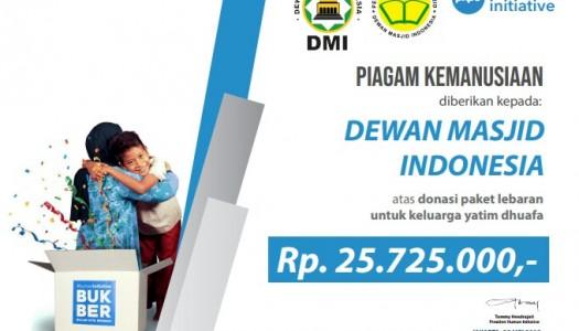 Selenggarakan Program BUKBER, DMI Terima Piagam Kemanusiaan