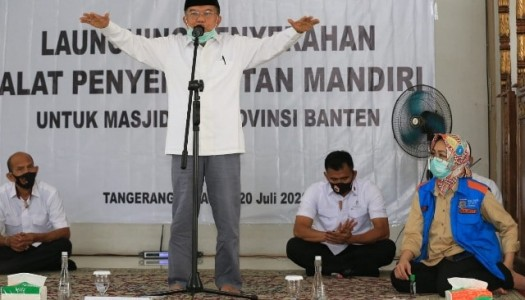 Jusuf Kalla Menyerahkan 1.000 Alat Semprot untuk Masjid-Masjid Se-Banten